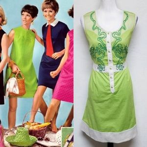 Vintage 70s Lime Green Embroidered Mod Dress
